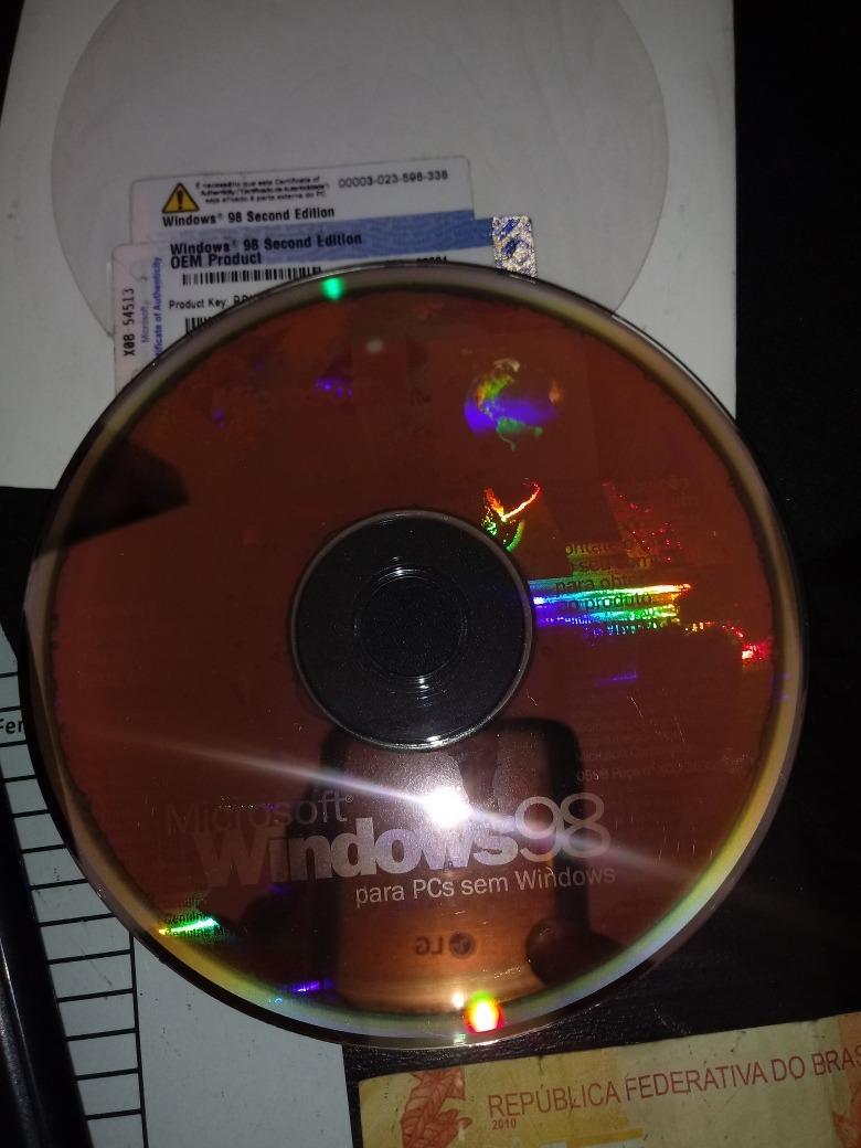 Cd Original Microssoft Windows 98 Segunda Edição Com Serial