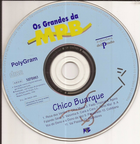 cd os grandes da mpb - chico buarque  - 1996 - polygram cd 7