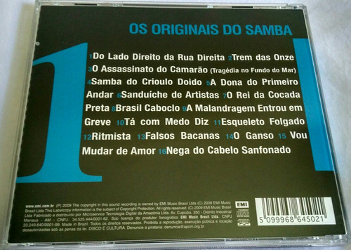 cd os originais do samba (16 hits)