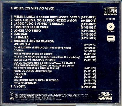 cd os vips - a volta (os vips ao vivo) - 1990