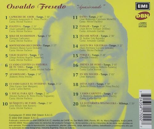cd : osvaldo fresedo - apasionado (cd)