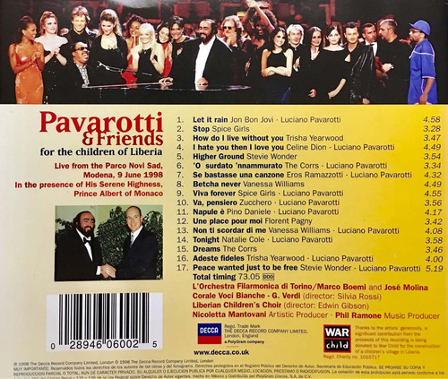 cd pavarotti and friends for the children of liberia erick b