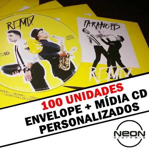 cd personalizado + envelope promocional - 100 unidades