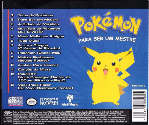 cd pokémon para ser um mestre (anime desenho nintendo game)
