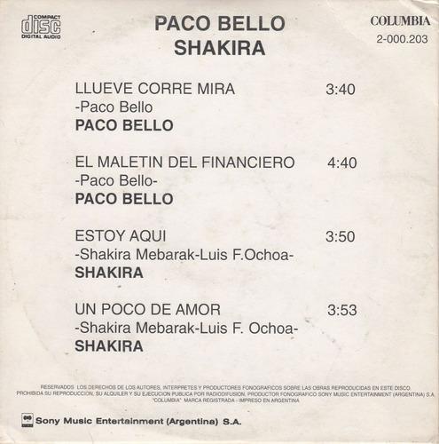 cd promocional shakira y paco bello argentina 1995 4 temas