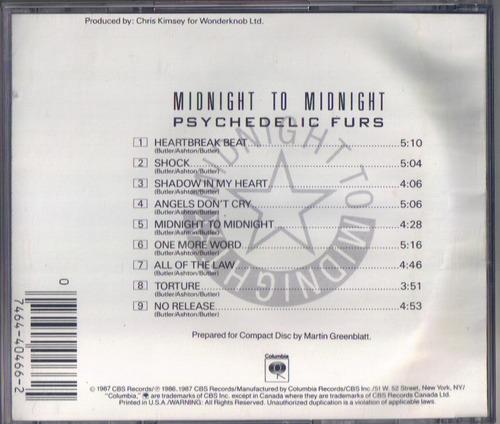 cd psychedelic furs - midnight to midnight (1987) raro