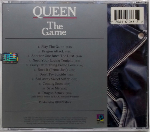 cd queen the game 1991 hollywood records lacrado 11 faixas