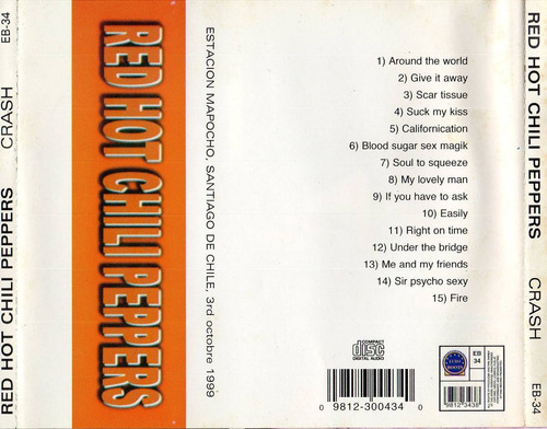cd red hot chili peppers - live in chile 1999 (importado)