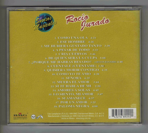 cd rocio jurado sucesos musicales 18 exitos