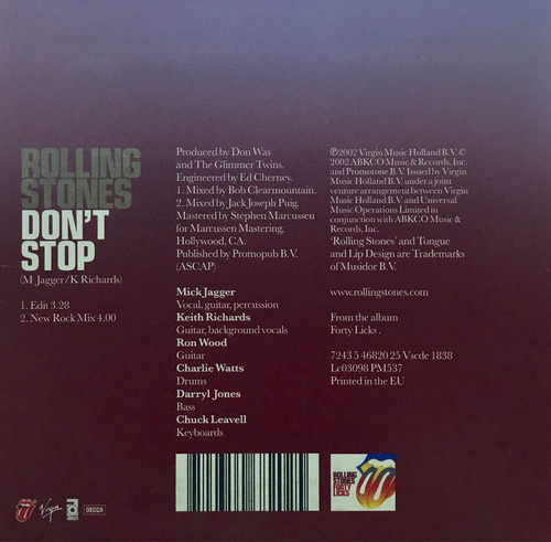 cd rolling stones dont stop promo usado