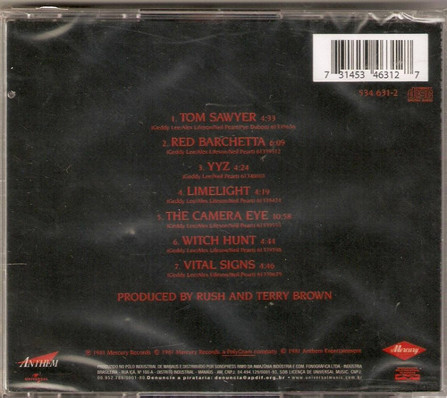 cd rush - moving pictures - novo***