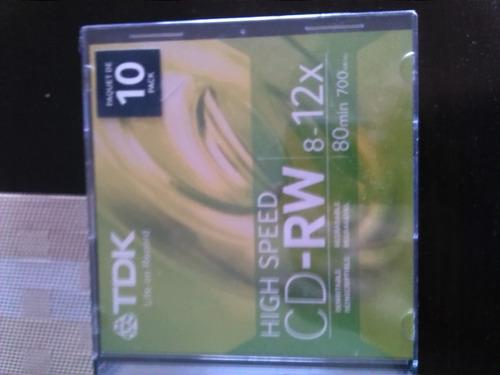 cd rw tdk 8-12x 80min 700mb paquete de 10