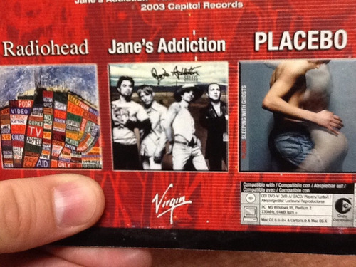 cd sampler 3 en 1 radiohead placebo & janes addiction (rock)