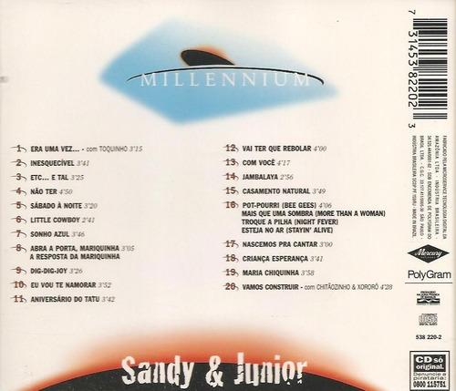 cd - sandy & júnior - millennium - 20 músicasdo século x x