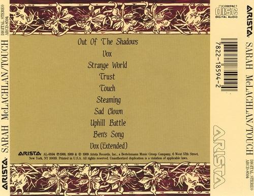 cd sarah mclachlan - touch (importado americano) arista 1989