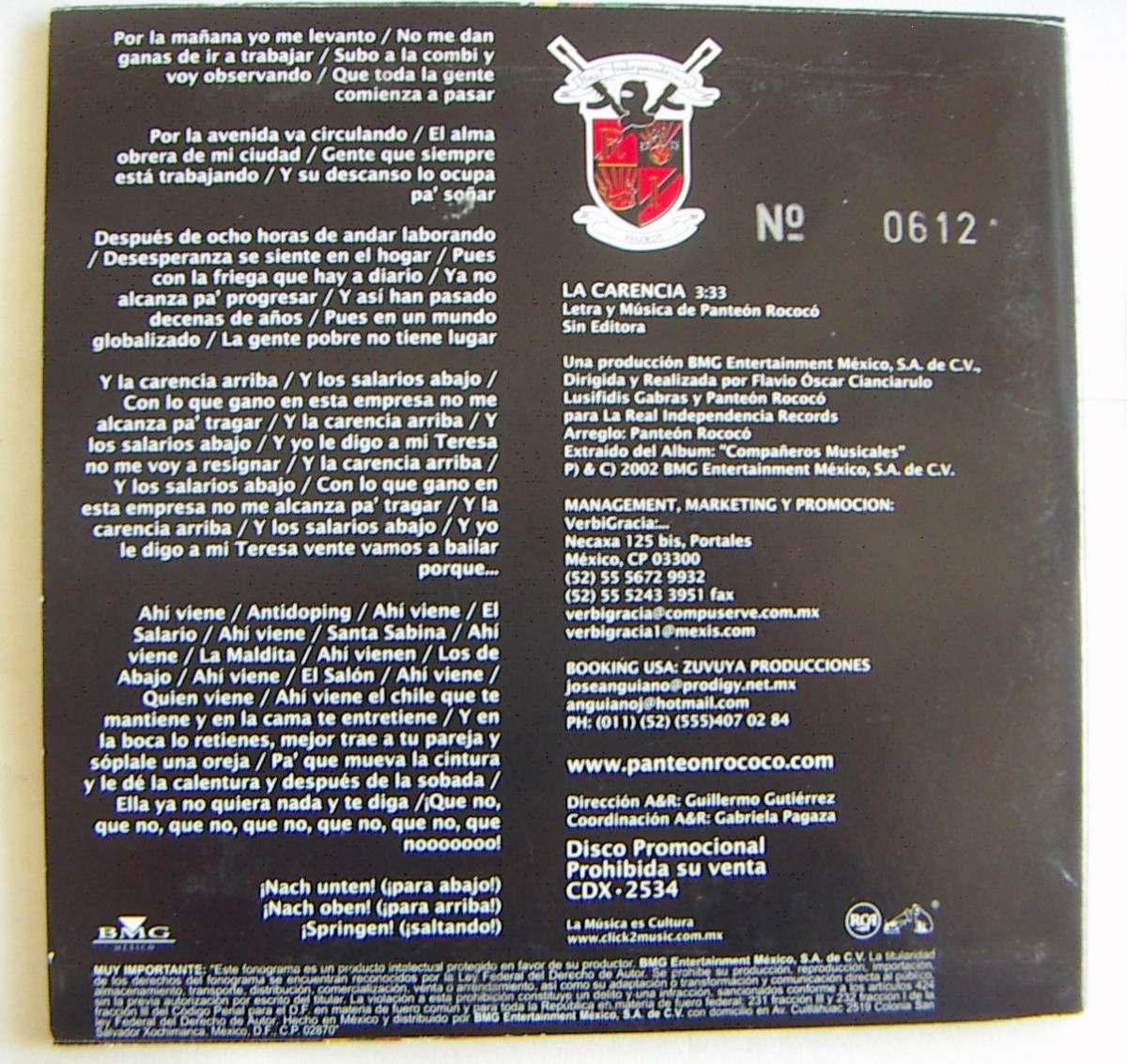 Cd sencillo pante n rococ la carencia rm4 u s en mercado libre - Musica divano era ...