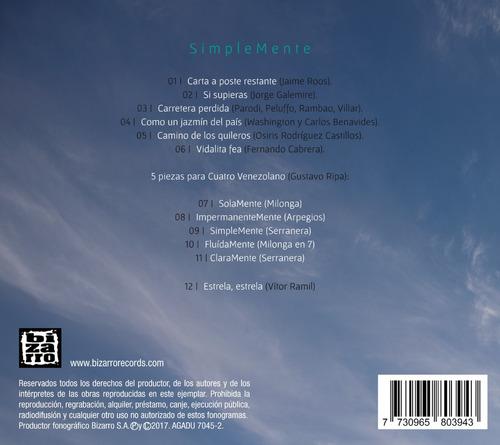 cd simplemente - gustavo ripa - música nacional instrumental