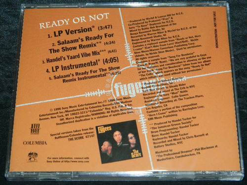 cd single fugees ready or not