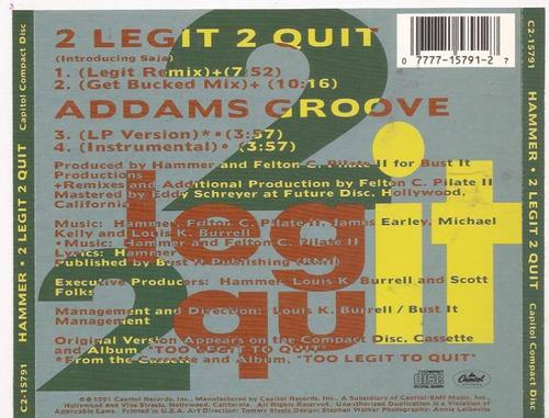 cd-single-mc hammer-2 legit 2 quit-importado em otimo estado