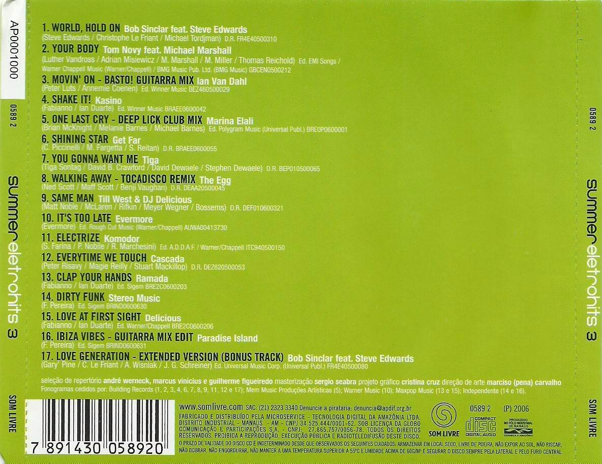 COMPLETO O BAIXAR SUMMER ELETROHITS 9 CD