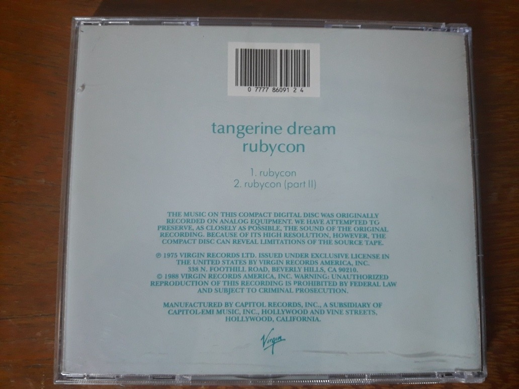 Cd Tangerine Dream - Rubycon - Raro