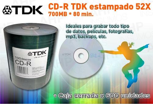 cd tdk estampado 52x 700mb 80 minutos caja cerrada 600 unid.