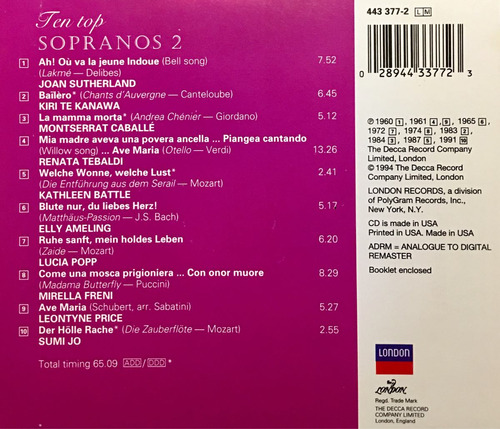 cd ten top sopranos 2 battle freni jo popp price tebaldi