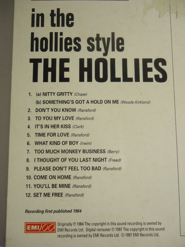 cd the hollies - in the hollies style