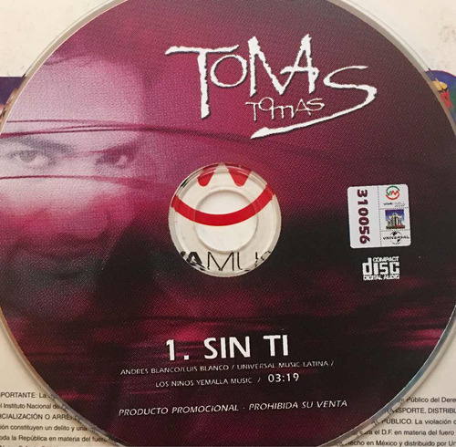 cd tomas sin ti promo usado sin portadas