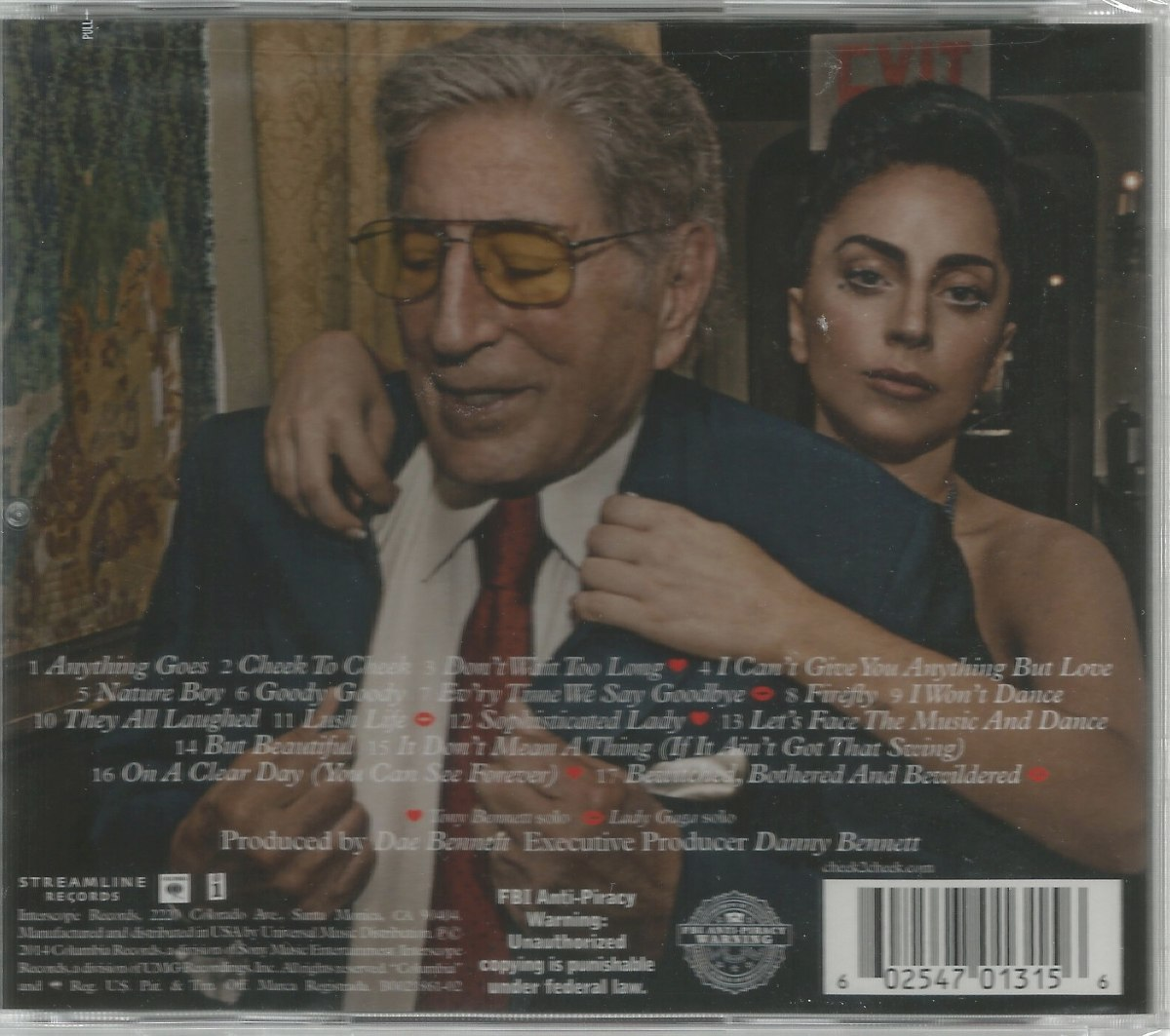 Cheek to Cheek is a collaborative album by American singers Tony Bennett and Lady Gaga. It was released on September 19, by Interscope and Columbia Records. Bennett and Gaga first met at the Robin Hood Foundation gala in New York City in