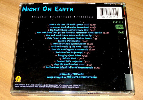 cd trilha de filme  night on earth  por tom waits