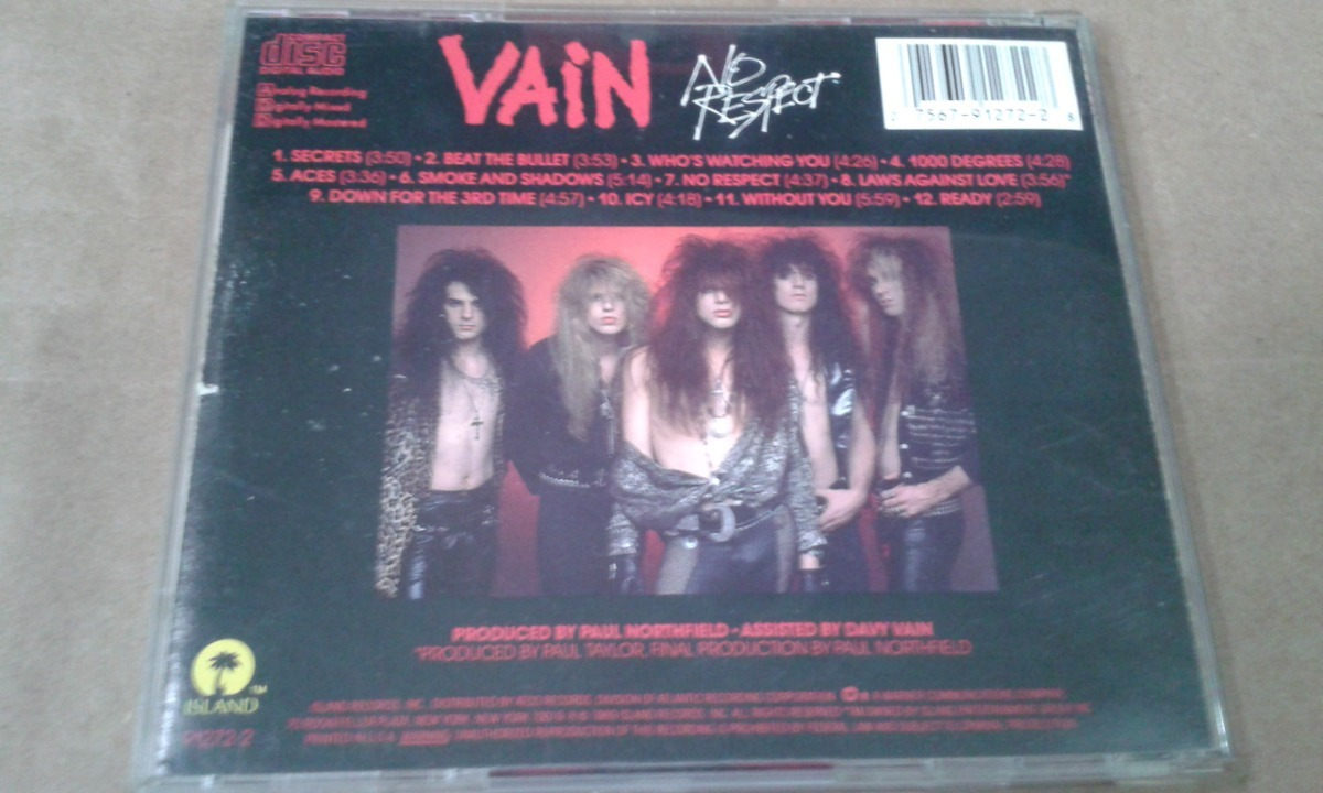 Cd Vain No Respect Hard Rock Glam Original