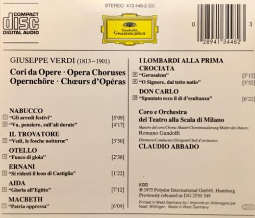 cd verdi la scala abbado importado de alemania
