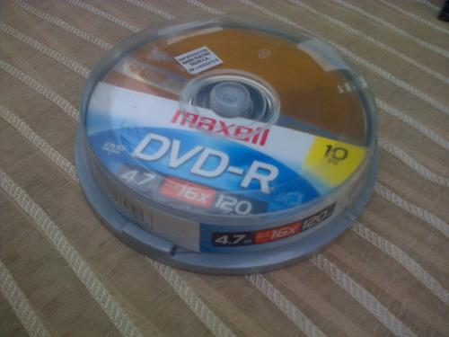 cd virgen dvd-r maxell 4.7gb 16x 120min cono de 10cd