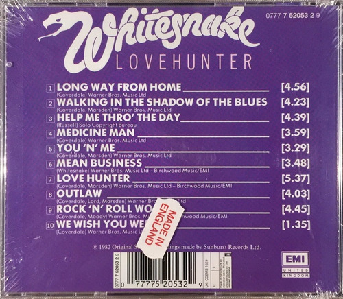 cd whitesnake - lovehunter - importado england lacrado