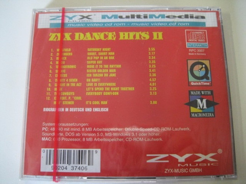 cd  =  zyx dance hits ii
