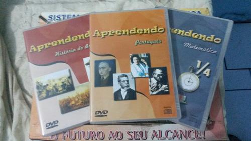 cd/dvds  estudo, contendo disciplinas de nível fundamental