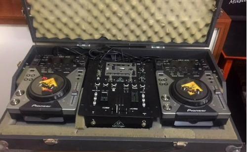 cdj 400 pioneer + mixer nox 202 + case p/ virtual dj