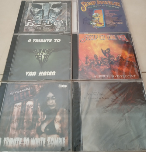 cds tributos a van halen, white zombie, testament, the doors