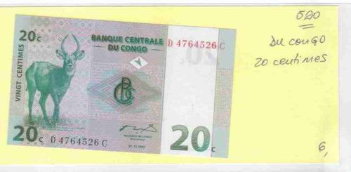 ce-w-520 congo - cédula $20c vingt centimes 1997
