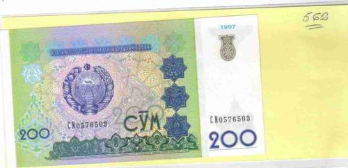 ce-w-562 uzbekistão - cédula $200 cym 1997