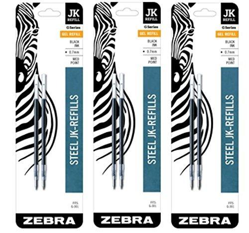 cebra jk-g301 refll retráctil bolígrafo recargas, 0,7 mm, m