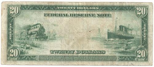 cedula 20 dolares ano 1914 large muito rara linda selo azul