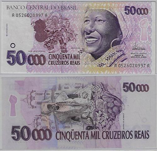 cédula 240 - 50000 cruzeiros reais 1994 baiana fe