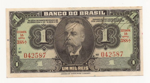 cédula brasil 1.000 réis = 1 cruzeiro c001