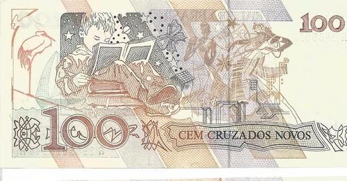 cédula - brazil - 100 cruzado novo - 1989 - cat#220