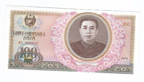 cédula coreia do norte 100 won - 1978 - fe