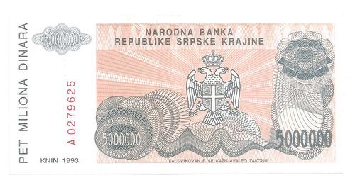 cedula croacia - 5 milhoes dinares - de 1993 - fe