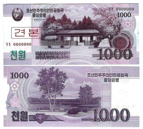 cédula da korea do norte 1000 won 2012 specimen - fe