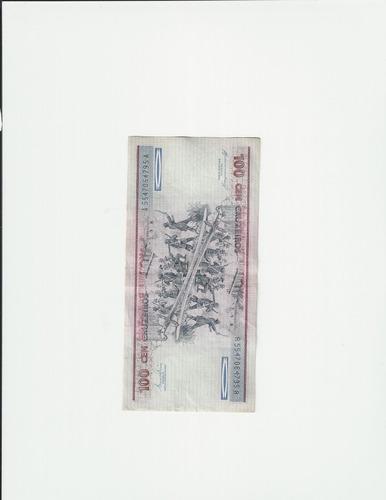 cédula de 100 cruzeiros (duque de caxias) nova sem uso